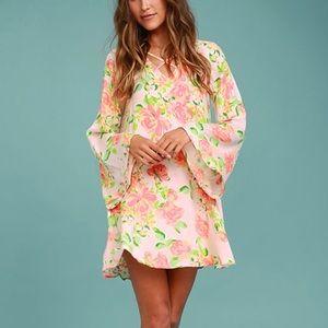 Lulus in high spirits blush floral mini dress